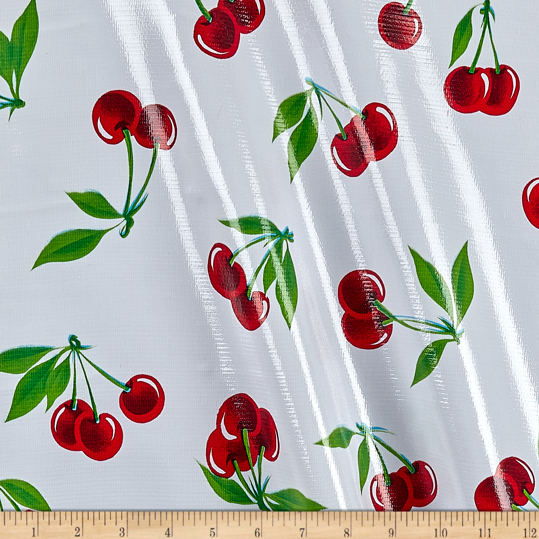 Old Fashioned Aprons & Patterns Oilcloth Stella Cherries White Fabric By The Yard $6.05 AT vintagedancer.com