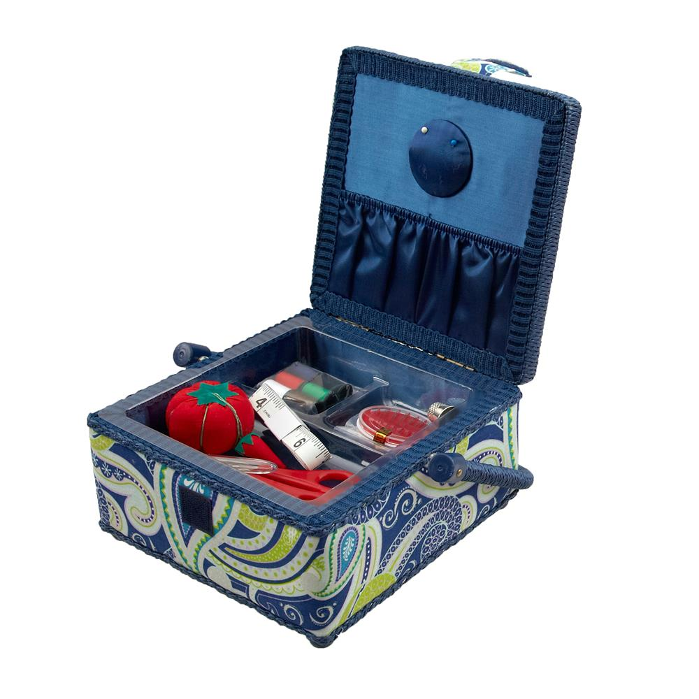 Sewing Basket & Basic Notions Kit Royal Blue