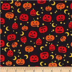Timeless Treasures Night Crawlers Jack O' Lanterns Black