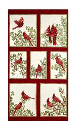 "A Festive Season Metallic Backyard Cardinals 23.5"" Panel Cream"