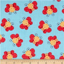 Itty Bitty Butterflies Turquoise Fabric