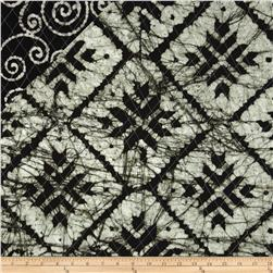 Double Sided Quilted Indian Batik Checks and Swirls Black/White