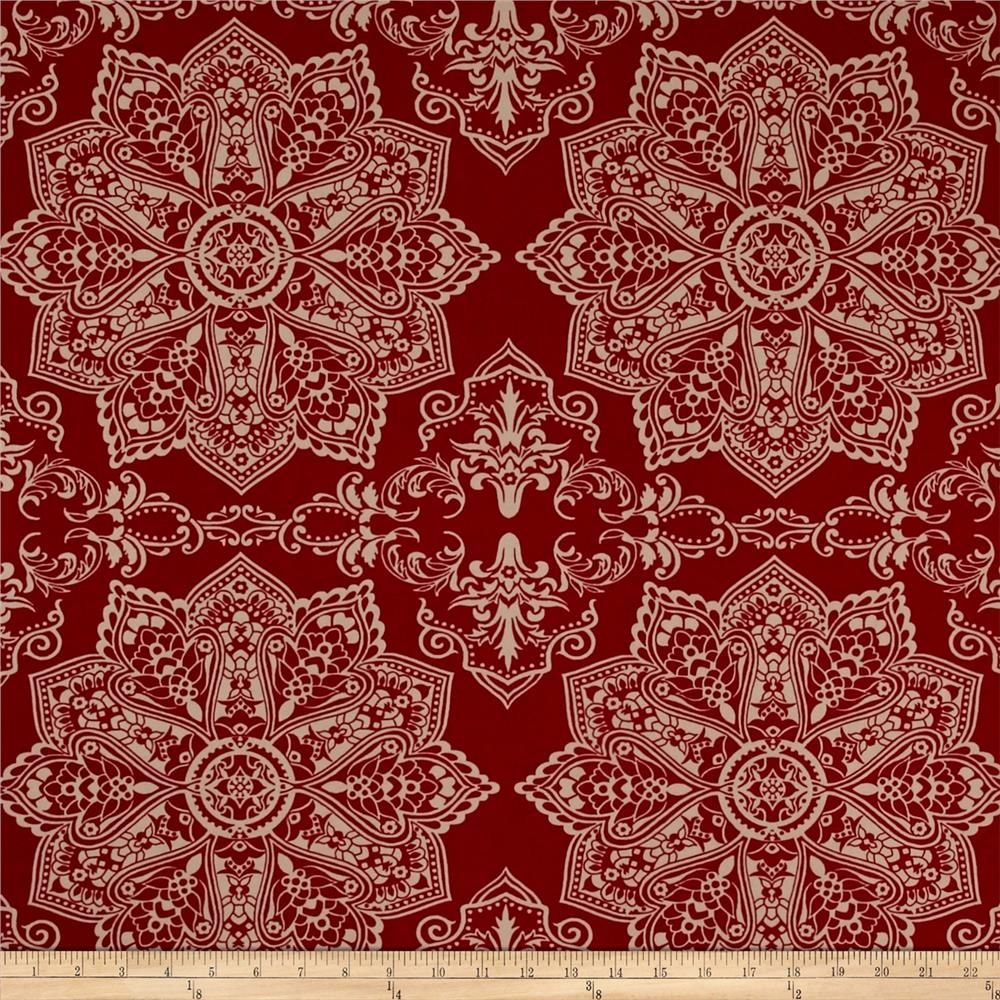 Mosaic Flower Stretch ITY Garnet/Beige
