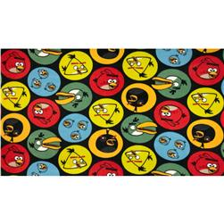 Angry Birds Fleece Circles Black Fabric