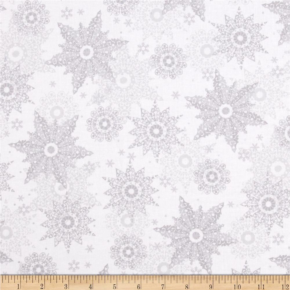 Celebrate the Season Metallic Snowflakes Grey