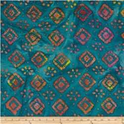 Indian Batiks Diamond Teal/Yellow