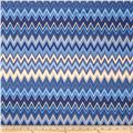 Winter's Grandeur Metallic Chevron Indigo
