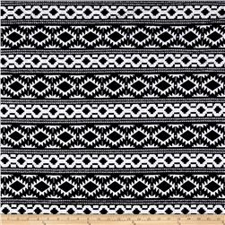 Quilted Knit Aztec Tribal Stripes Black/White