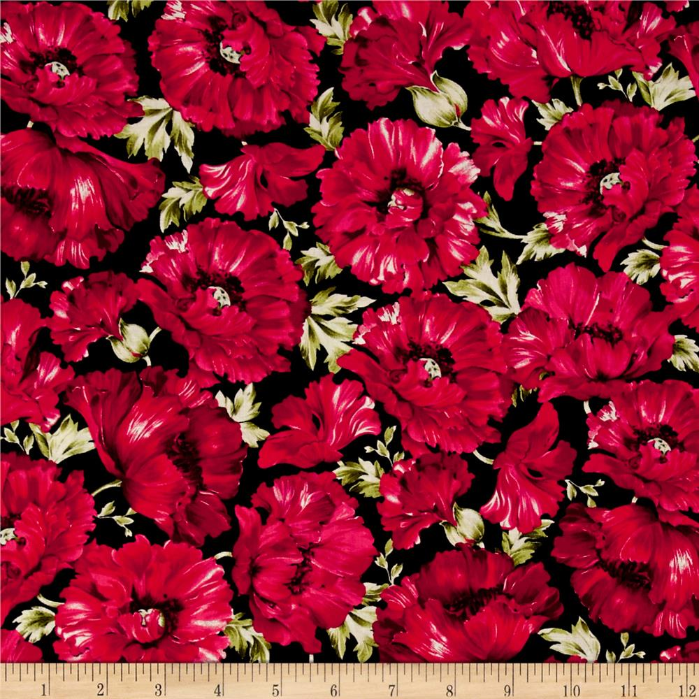 Timeless Treasures Audrey Packed Poppies Fuchsia