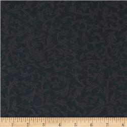 "110"" Wide Flannel Quilt Backing Leaf Black"