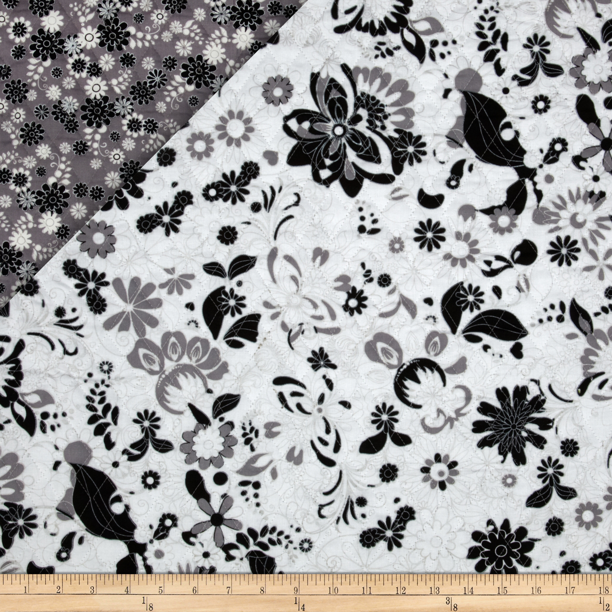 Black & White Double Sided White Quilted Flowers