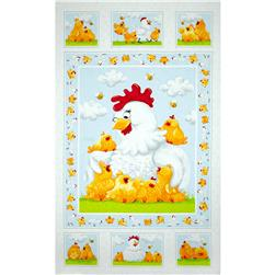 Susybee Pippa & Chicks 36 In. Pippa Quilt Panel White