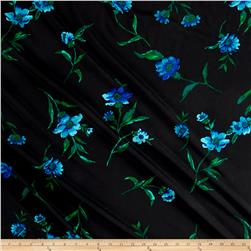 Crepe de Chine Floral Black/Blue