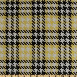 Wool Blend Coating Houndstooth Plaid Yellow/Black