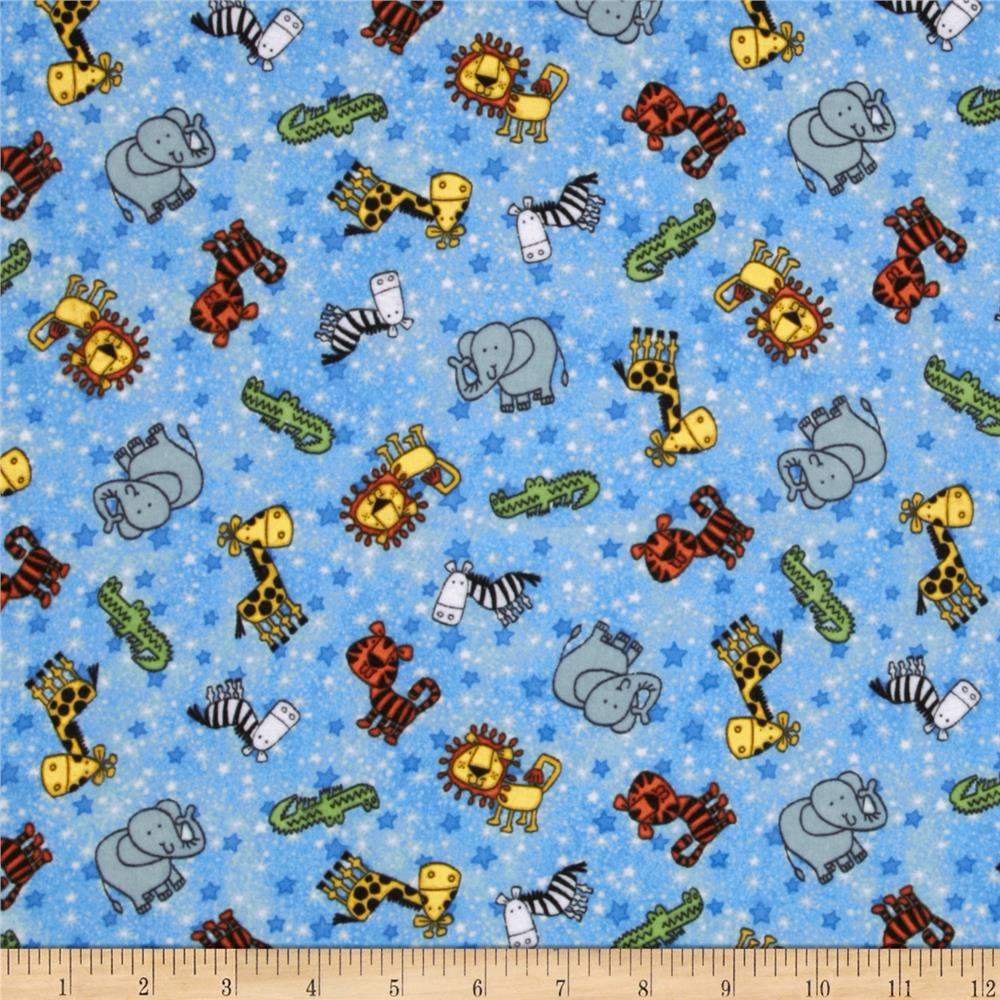 Flannel Tossed Jungle Animals Blue