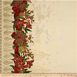 "Holiday Editions 56"" Wide Double Border Ribbons & Reindeers Ecru"