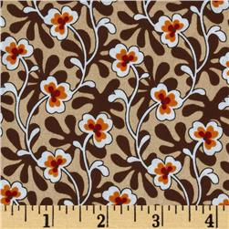 Shelburne Calico Garden Large Floral Vines Brown