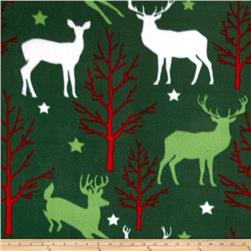 Christmas Fleece Deer & Trees Forest Green