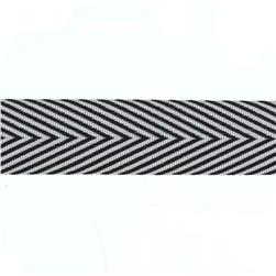 "3/4"" Twill Tape Chevron Stripes Black"
