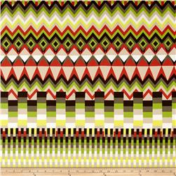 French Desinger Cotton Sateen Zig Zag Brown/Green/Yellow