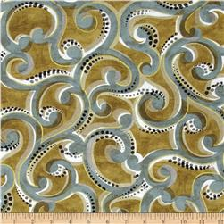 Contempo Precious Metals Scroll Gold/Teal