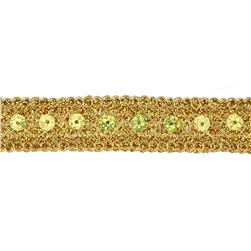 3/4'' Adriana Metallic Sequin Braid Trim Roll Gold