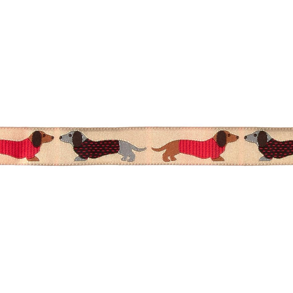 7/8'' Dachshund Ribbon Tan