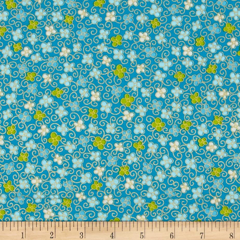 Kanvas Sakura Hana Scroll Turquoise