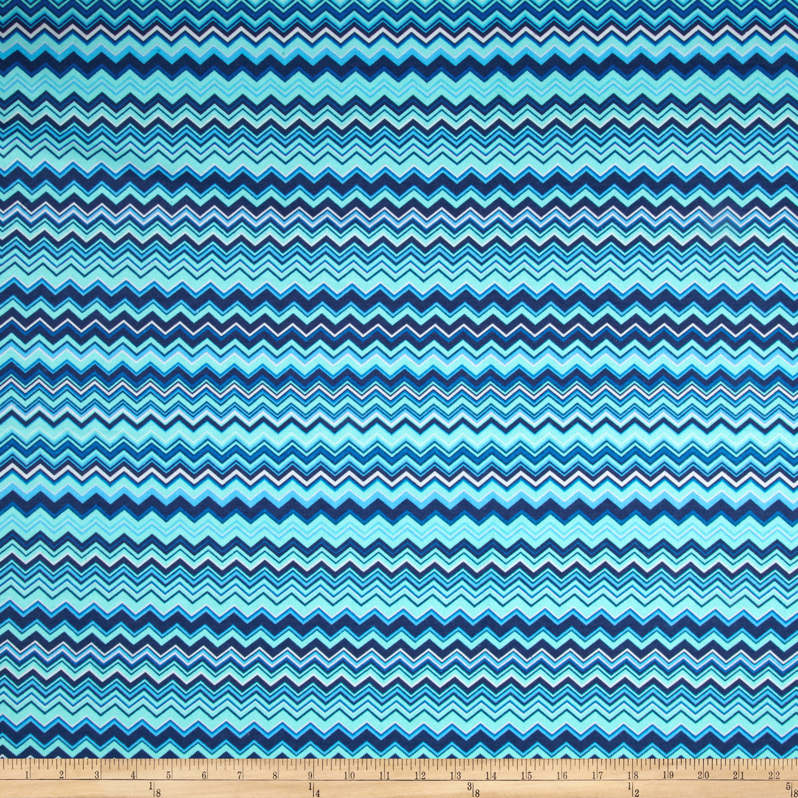 Chevron Flannel Aqua/Royal Fabric