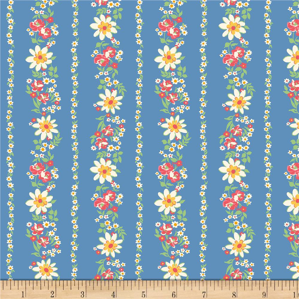 Pinafores & Petticoats Daisies & Roses Stripe Blue Fabric By The Yard