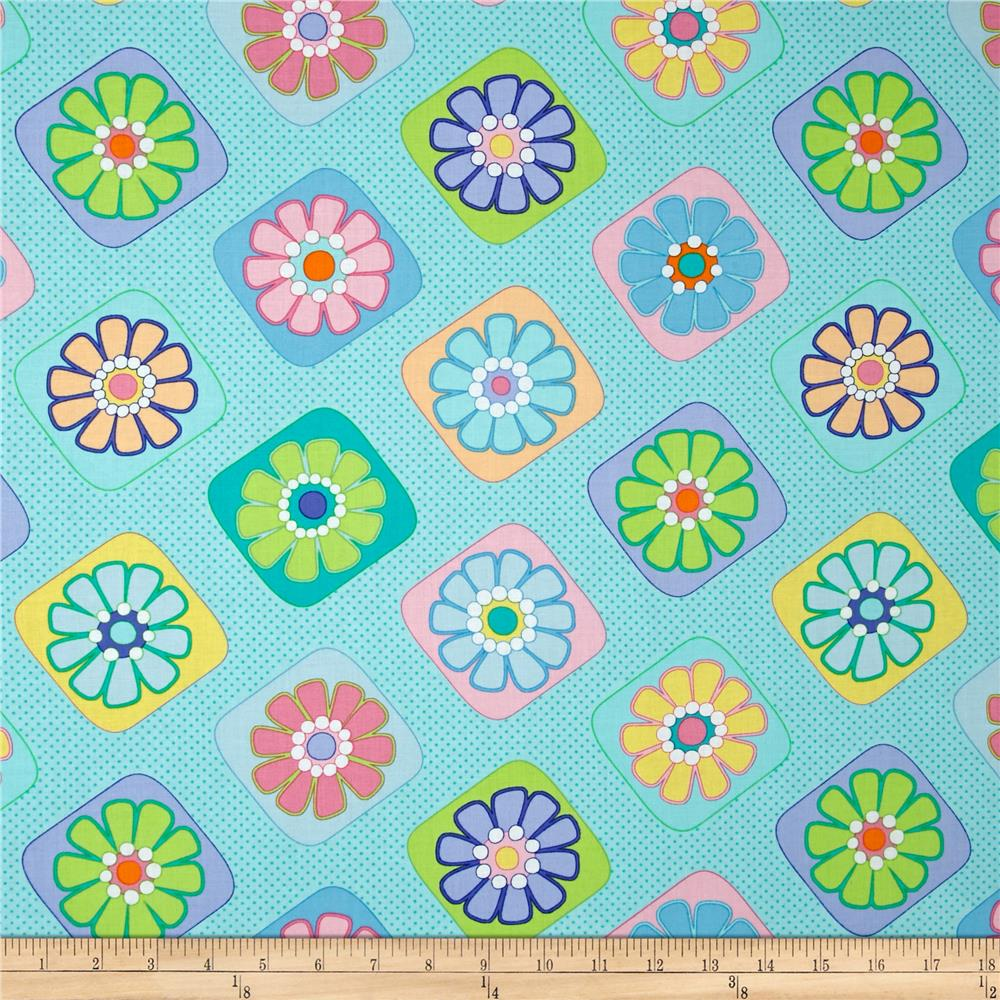 Moda Grow Flower Tiles Truly Turquoise