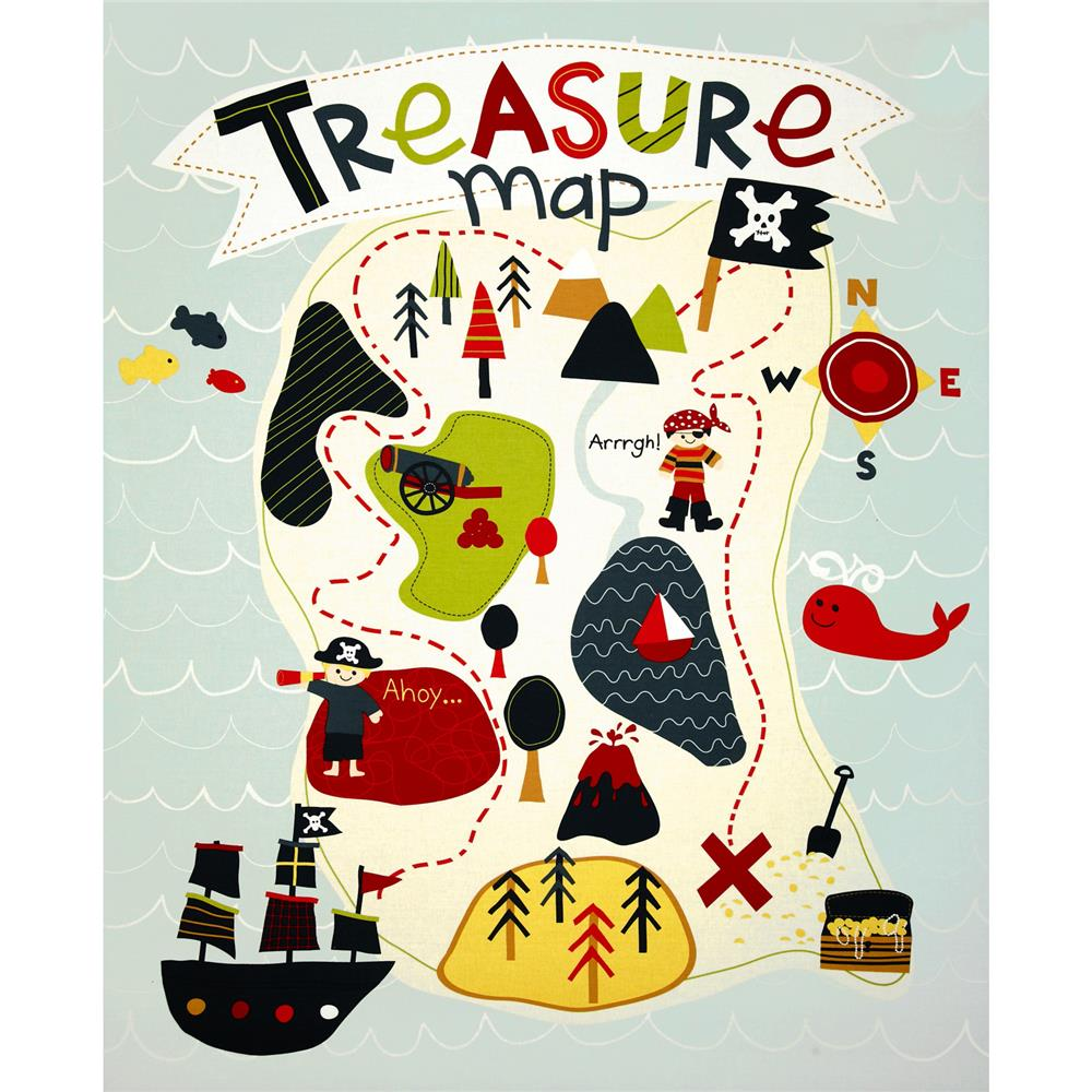 Riley Blake Treasure Map Panel Grey