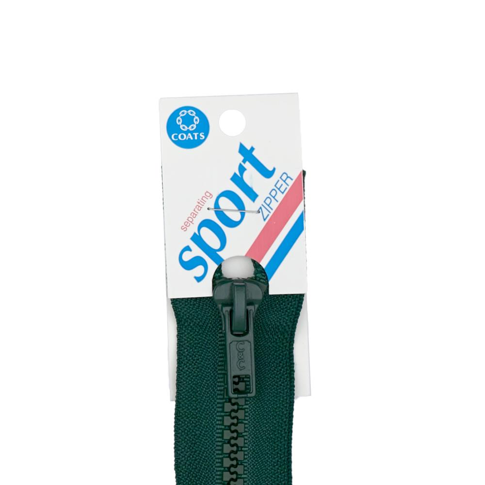 "Coats & Clark Sport Separating Zipper 20"" Forest Green"