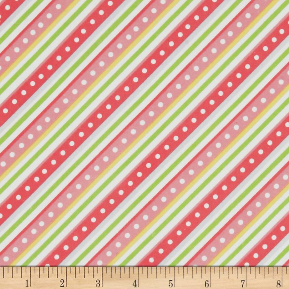 Kimberbell Little One Flannel Too! Diagonal Stripe Pink Fabric By The Yard