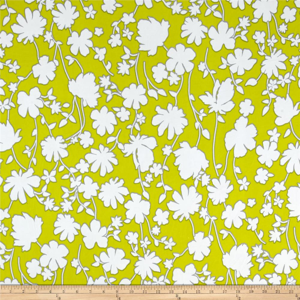 Summer Floral Stretch ITY Citron/White