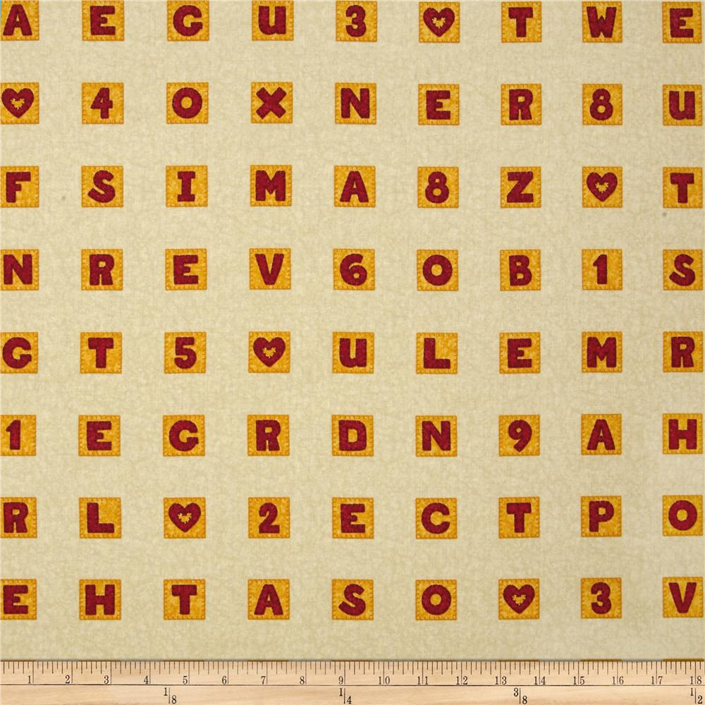 Schoolhouse Fancies Scrabble Tiles Cream/Multi
