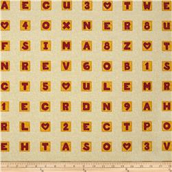Schoolhouse Fancies Scrabble Tiles Cream/Multi Fabric