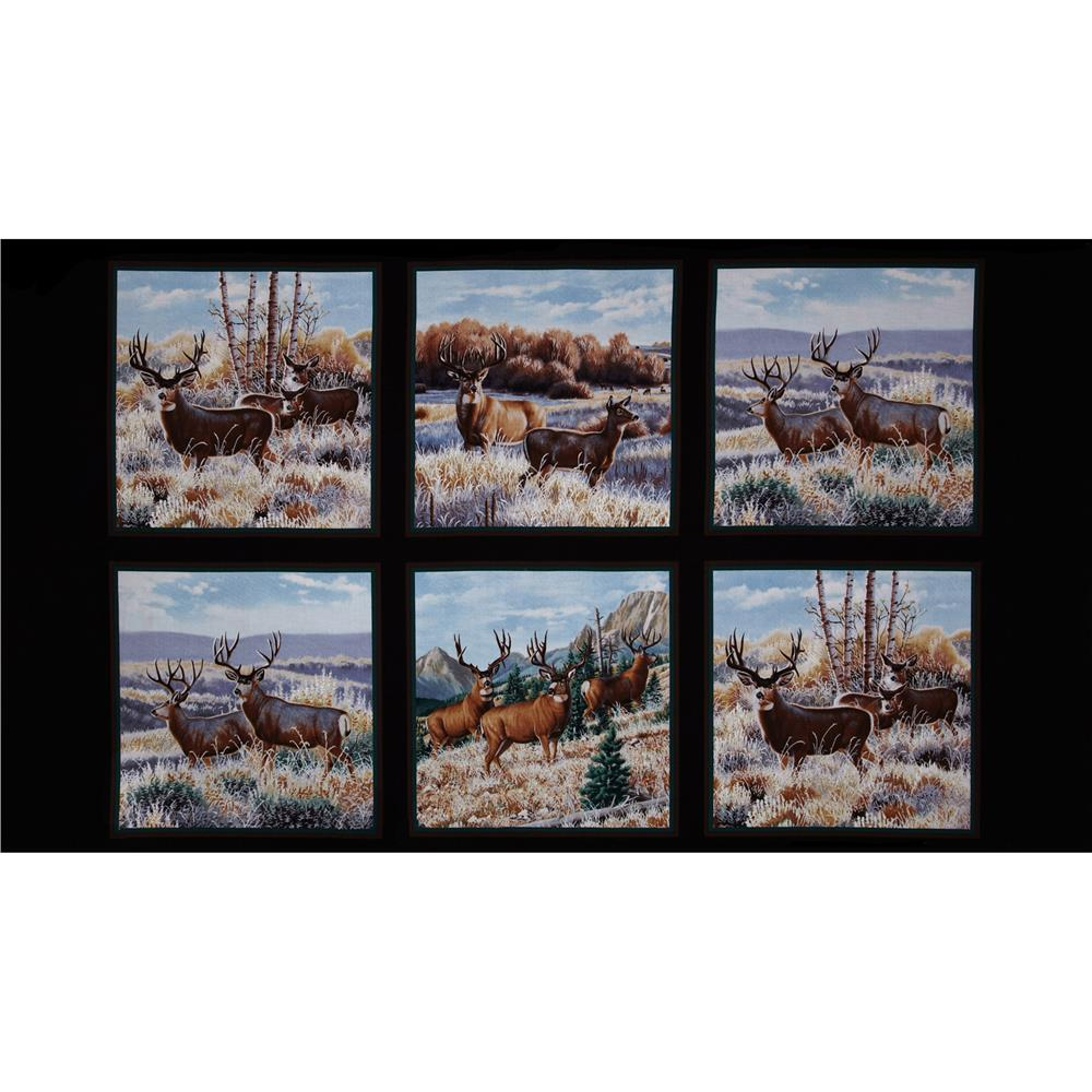 A Wild Life Mule Deer Panel Black Fabric By The Yard