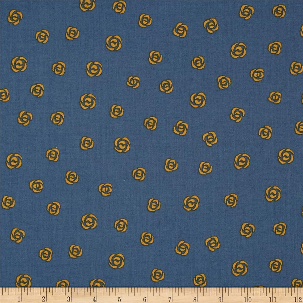 Dear Stella Large Rose Buds Blue/Gold