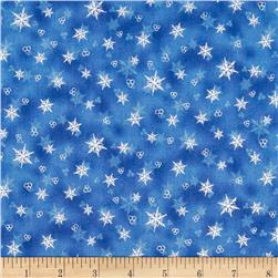 Holiday Accents Classics 2014 Snowflake Metallic Blue Fabric
