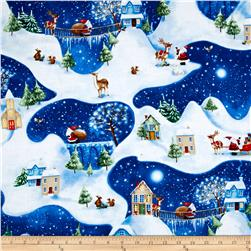 Christmas Village Scenic White/Blue