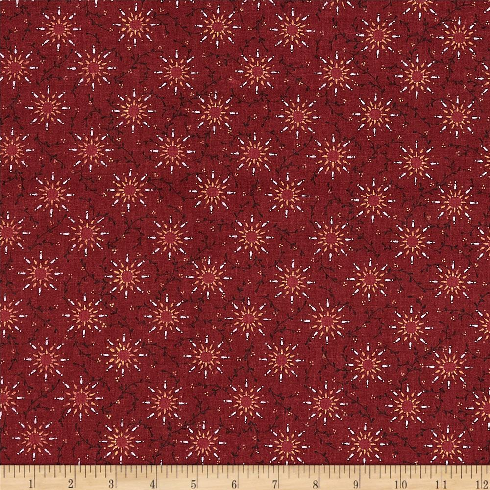108'' Quilt Backing Pairie Vine Red Fabric By The Yard