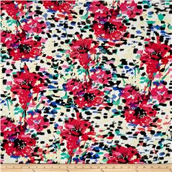 Liverpool Double Knit Floral Fuchsia