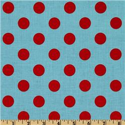 Riley Blake Dots Medium Aqua/Red Fabric