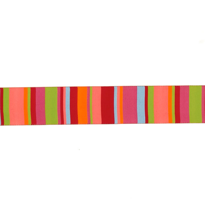 1 1/2'' Kaffe Fasset Roman Stripes Ribbon Lime/Coral