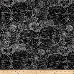 Simply Sterling Metallic New World Map Black/Silver Fabric