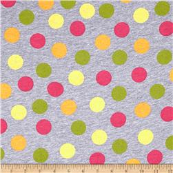 Rihan Jersey Knit Pink/Mustard/Yellow Polka Dots on Light Gray