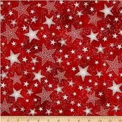 Kaufman Winter Grandeur Metallic Stars Scarlet
