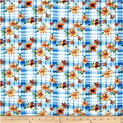Rayon Challis Plaid Blue/Orange