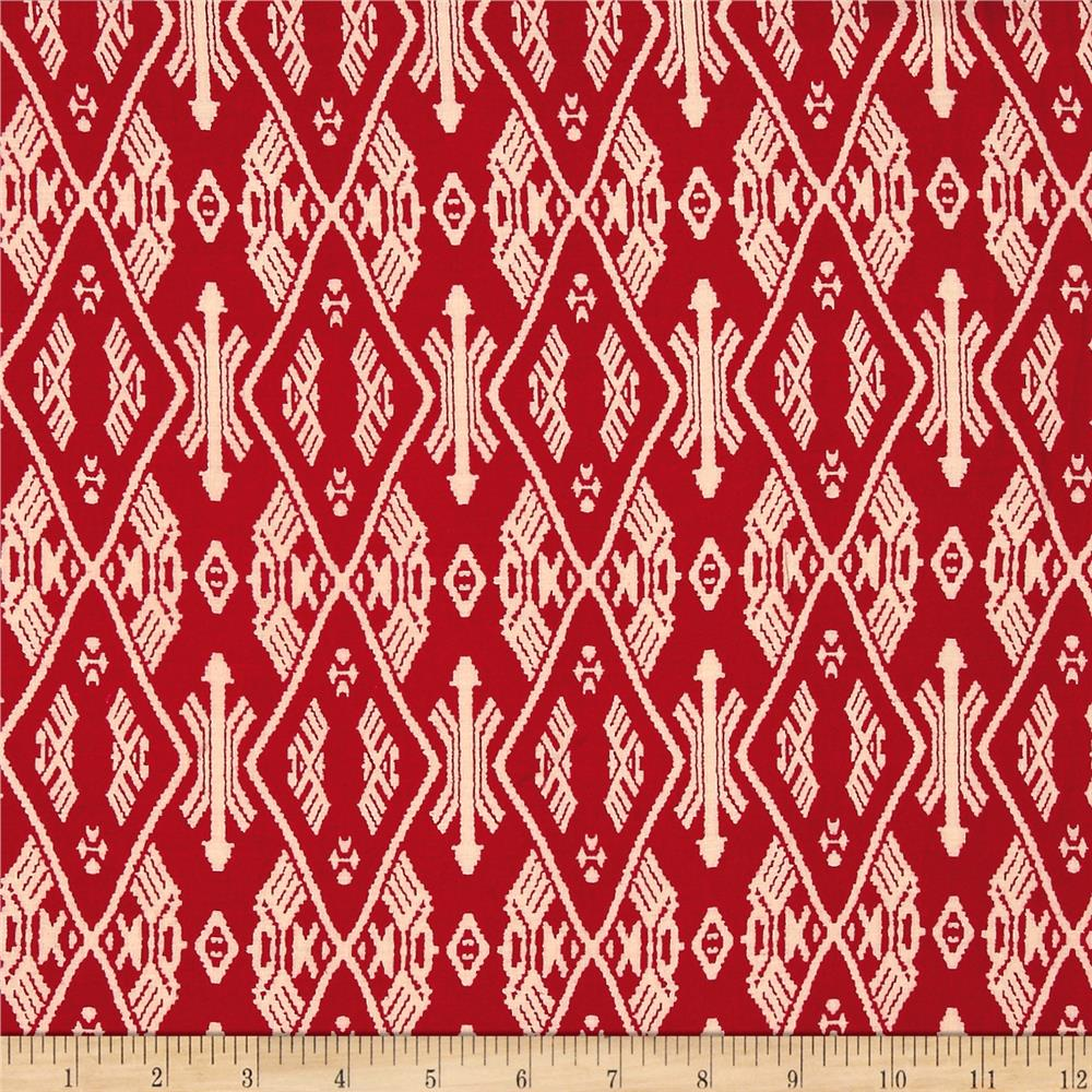 Rayon Challis Aztec Ikat Red/Cream